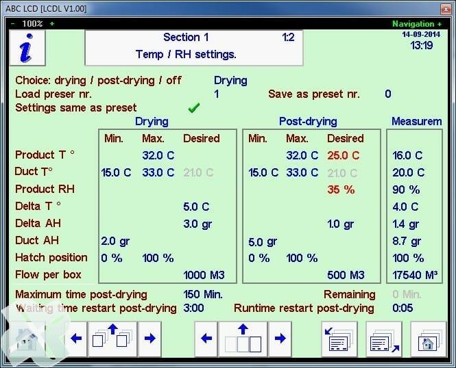 ABC-Software und der Prozessor steuert den Agratechniek crate Trocknersystem seed